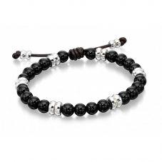 Fred Bennett Mens Onyx Beaded Leather Bracelet B4569