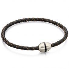 Fred Bennett Stainless Steel Skinny Brown Leather Plaited Bracelet B4914