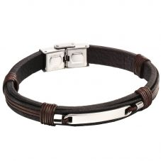 Fred Bennett Stainless Steel Black Brown Leather ID Bracelet B5124