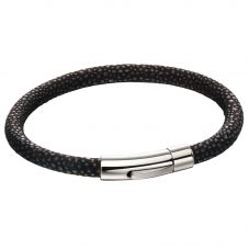 Fred Bennett Stainless Steel Black And Blue Textured Fabric Bracelet B5136