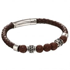 Fred Bennett Stainless Steel Brown Leather Lava Bead Bracelet B5141