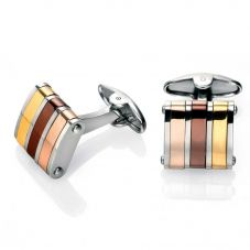 Fred Bennett Steel Three Colour Stripe Cufflinks V475