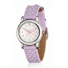 D For Diamond Time Teacher Lilac Polka Dot Strap Watch Z1101