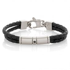 Nomination Tribe Mens Black Leather Double Bracelet 026421/001