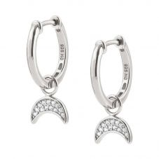 Nomination Nightdream Silver & Cubic Zirconia Moon Hoop Earrings 148103/030
