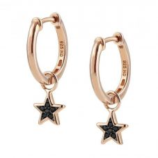 Nomination Nightdeam Rose Gold Plated & Black Cubic Zirconia Star Hoop Earrings 148103/033