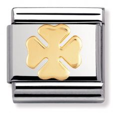 Nomination CLASSIC Gold Good Luck 4 Leaf Clover Charm 030115/06