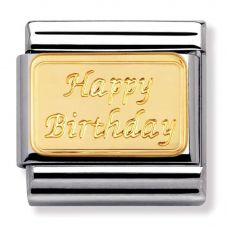 Nomination CLASSIC Gold Engraved Signs Happy Birthday Charm 030121/09