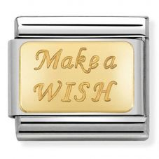 Nomination CLASSIC Gold Engraved Signs Make A Wish Charm 030121/43