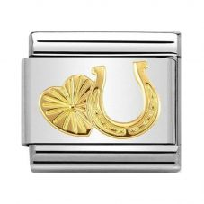 Nomination CLASSIC Gold Symbols Horseshoe and Heart Charm 030149/35