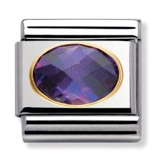 Nomination CLASSIC Gold Oval Faceted Cubic Zirconia Purple Charm 030601/001