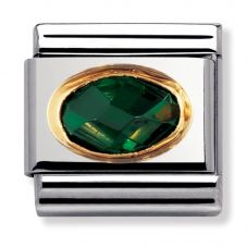 Nomination CLASSIC Gold Oval Faceted CZ Dark Green Charm 030601/027