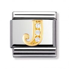 Nomination CLASSIC Gold Cubic Zirconia Letter J Charm 030301/10