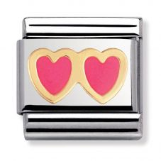 Nomination CLASSIC Gold Love Pink Double Heart Charm 030207/05