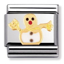Nomination CLASSIC Gold Christmas White Snowman Charm 030225/04