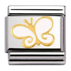 Nomination CLASSIC Gold Nature White Butterfly Charm 030278/03