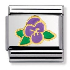 Nomination CLASSIC Gold Nature Violet Flower Charm 030278/15