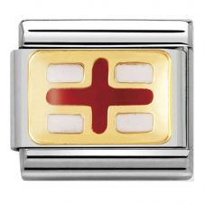 Nomination CLASSIC Gold Flags Red and White England Flag Charm 030234/08