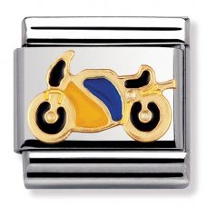 Nomination CLASSIC Gold Sports Yellow and Blue Motorbike Charm 030203/40