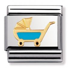 Nomination CLASSIC Gold Daily Life Blue Pram Charm 030208/48