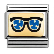 Nomination CLASSIC Gold Pois Blue Sunglasses Charm 030284/03