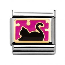 Nomination CLASSIC Gold Pois Pink Enamel Black Cat Charm 030284/08
