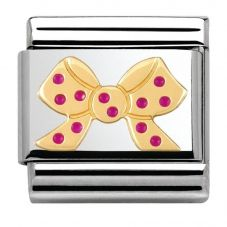 Nomination CLASSIC Gold Pois Pink Polka Dot Bow Charm 030285/27