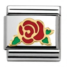 Nomination CLASSIC Gold Madame Monsieur Red Rose Charm 030285/30