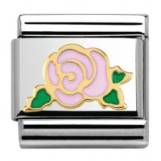 Nomination CLASSIC Gold Madame Monsieur Pink Rose Charm 030285/31