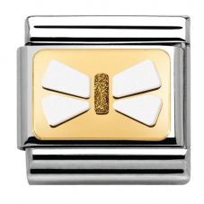 Nomination CLASSIC Gold Elegance White Bow Charm 030280/41