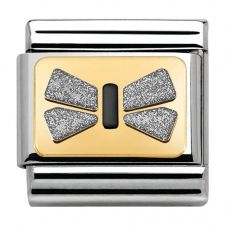 Nomination CLASSIC Gold Elegance Silver Grey Bow Charm 030280/43