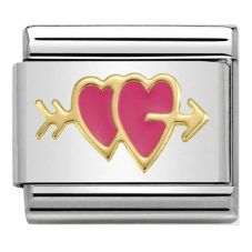 Nomination CLASSIC Gold Symbols Double Hearts with Arrow Charm 030283/15