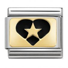 Nomination CLASSIC Gold Plates Star in Heart Charm 030284/19