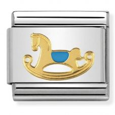 Nomination CLASSIC Gold Daily Life Blue Rocking Horse Charm 030242/44