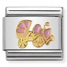 Nomination CLASSIC Gold Daily Life Pink Pram Charm 030242/45