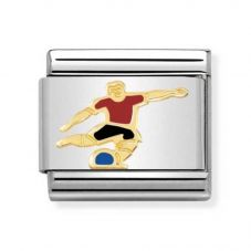Nomination CLASSIC Gold Sports Red Enamel Footballer Charm 030259/11