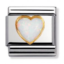 Nomination CLASSIC Gold White Opal Heart Stones Charm 030501/07