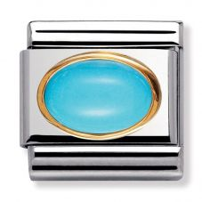 Nomination CLASSIC Gold Oval Stones Turquoise Charm 030502/06
