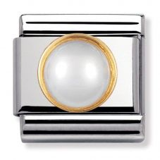 Nomination CLASSIC Gold Round Stones White Pearl Charm 030503/13