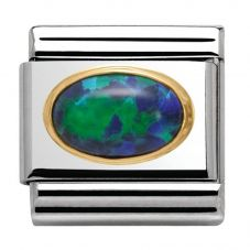 Nomination CLASSIC Gold Oval Stones Green Opal Charm 030502/26