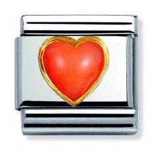 Nomination CLASSIC Gold Stones Hearts Pink Coral Charm 030501/10
