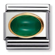 Nomination CLASSIC Gold Oval Stones Green Agate Charm 030502/03