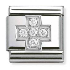 Nomination CLASSIC Silvershine White CZ Cross Charm 330304/03