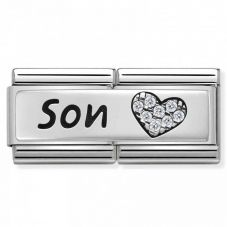 Nomination CLASSIC Silvershine Double Link Heart Son Charm 330731/03
