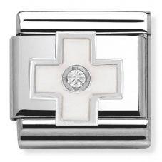 Nomination CLASSIC Silvershine White Cross Charm 330305/04