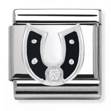 Nomination CLASSIC Silvershine Black Horse Shoe Charm 330305/11