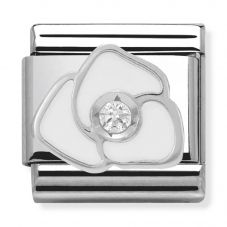 Nomination CLASSIC Silvershine White Rose Flower Charm 330305/06