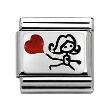 Nomination CLASSIC Silvershine Plates Girl Heart Charm 330208/08