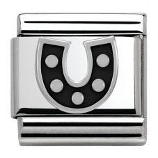Nomination CLASSIC Silvershine Symbols Black Horseshoe Charm 330202/08