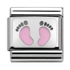 Nomination CLASSIC Silvershine My Family Pink Baby Feet Charm 330208/14